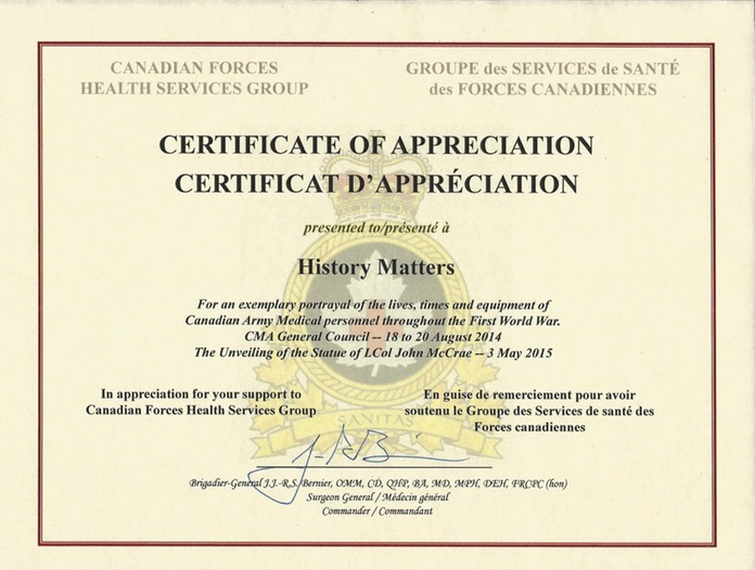HMA Canadian Forces Certificates of Appreciation